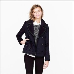 J Crew Collection leather-trim peacoat size 2